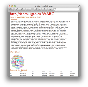 This program creates a PDF like this from a WARC file, building on previous work.