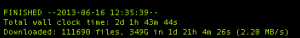 Command line text showing successful completion of a wget download, 2d 1h 43m 44s; 111690 files, 349GB