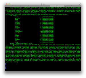 Part of the Mahout Cluster output of the 'Nashville' neighbourhood of GeoCities.