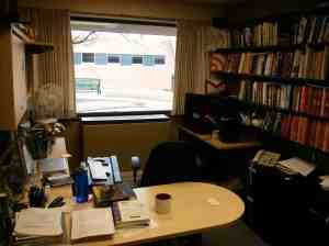 It's not as disorganized as many professorial offices, but it's not as tidy as I wish it was.