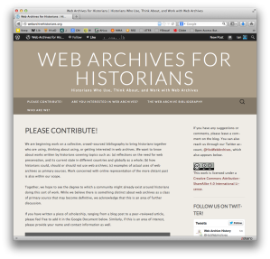 A screenshot of our web archives for historians page, showing the main splash page.