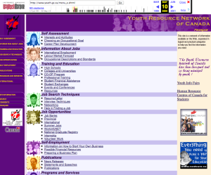 The youth.gc.ca website from May 2000.