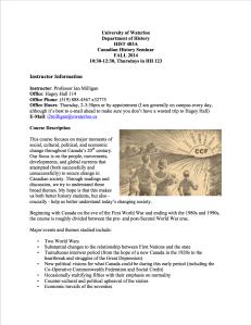 History 403A - Canadian Honours Seminar